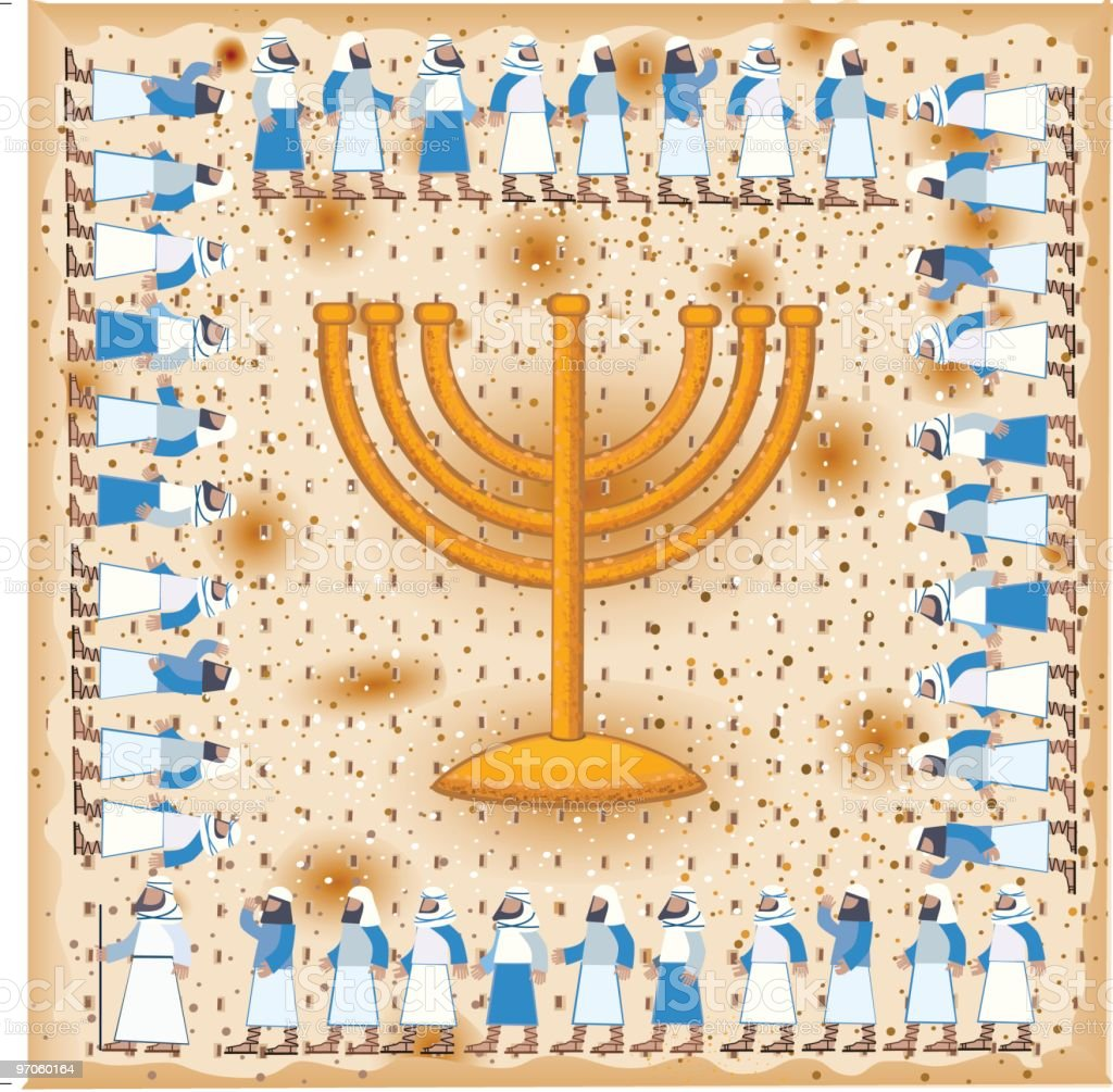 Passover Illustration With Golden Menorah On Matzah Background royalty-free stock vector art