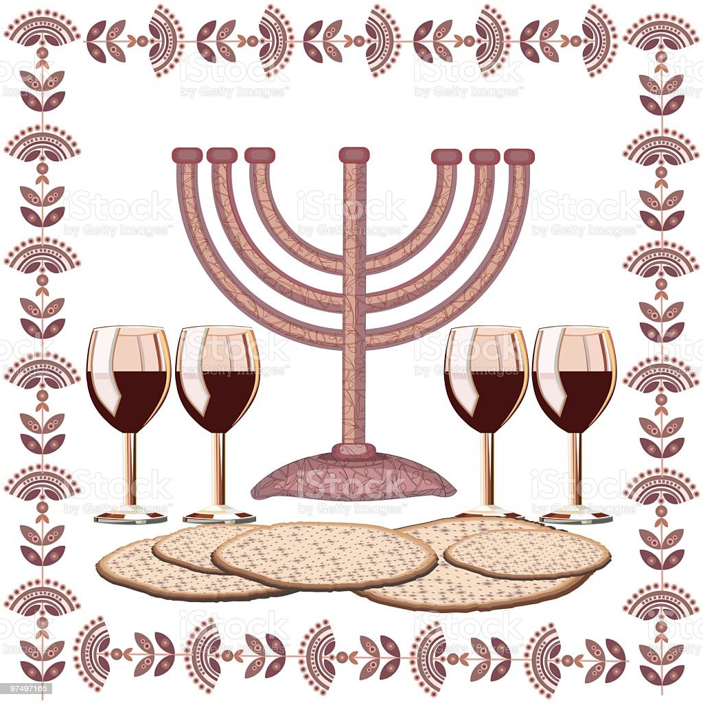 Passover Illustration With Menorah, Four Glasses Of Wine , Matzoth royalty-free stock vector art