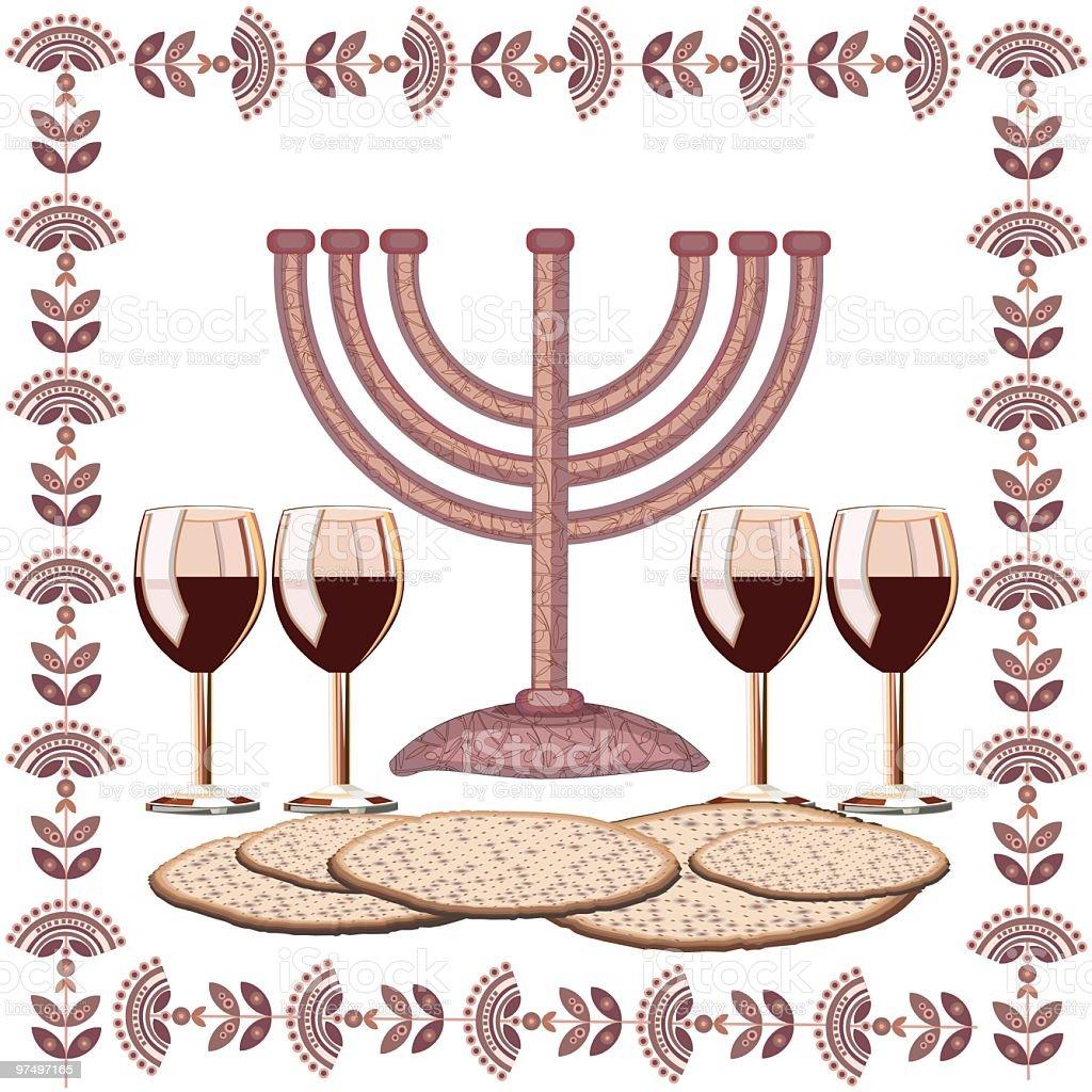 Passover Illustration With Menorah, Four Glasses Of Wine , Matzoth vector art illustration