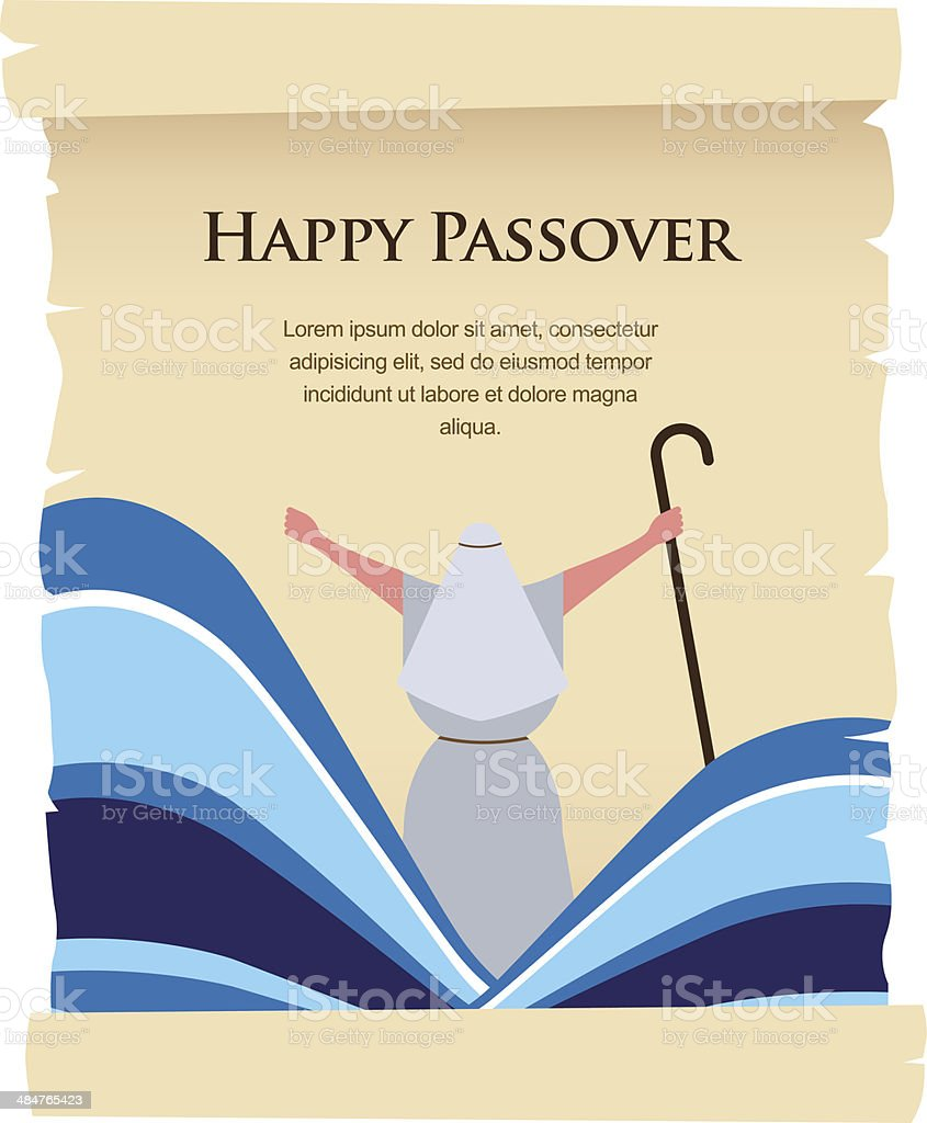 passover invitation on acient card vector art illustration