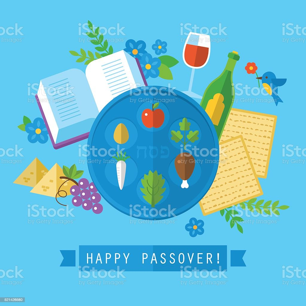 Passover jewish holiday design with flat stylish icons. Isolated vector art illustration