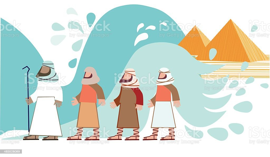 Passover. Jews Walking Through the Parted Sea vector art illustration