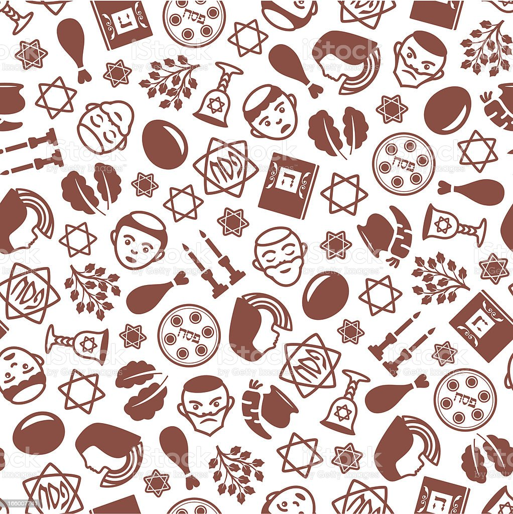 Passover - One Color Seamless Pattern vector art illustration