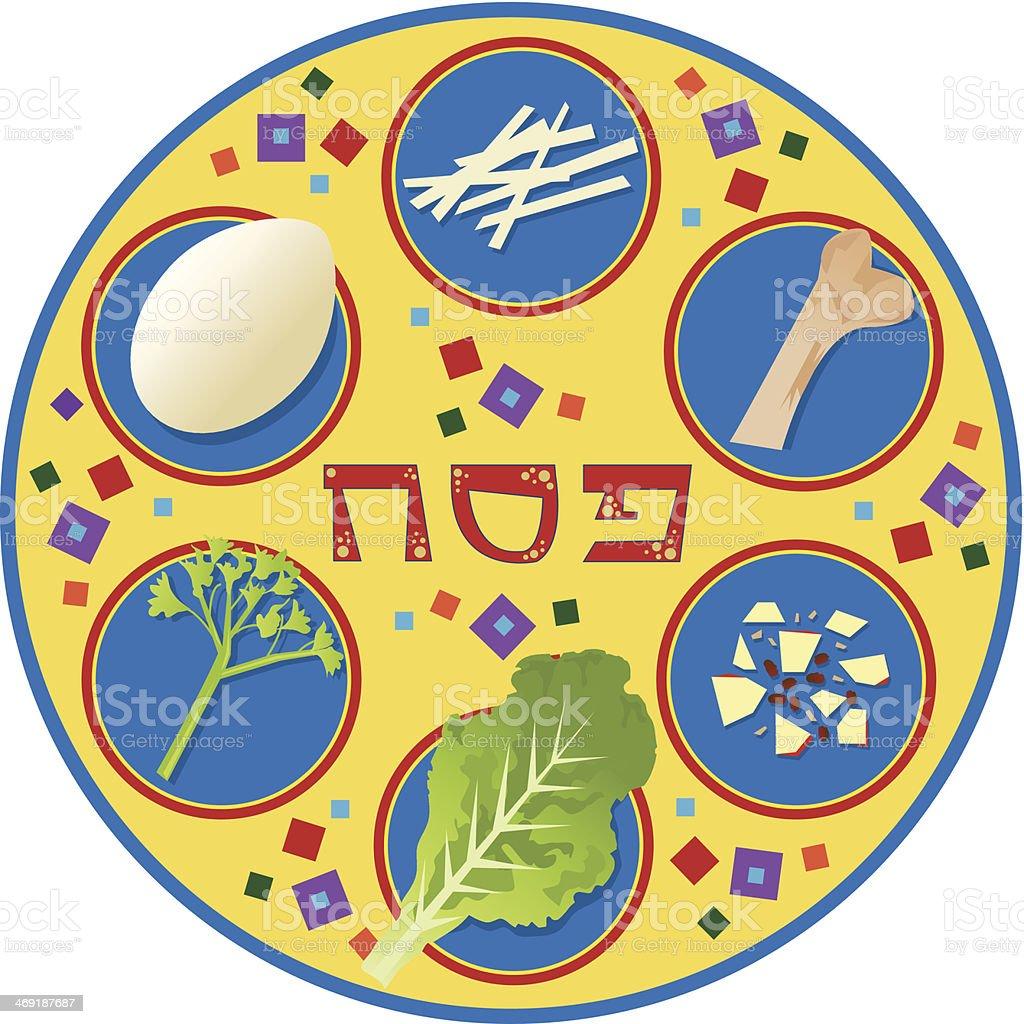 Passover Plate vector art illustration