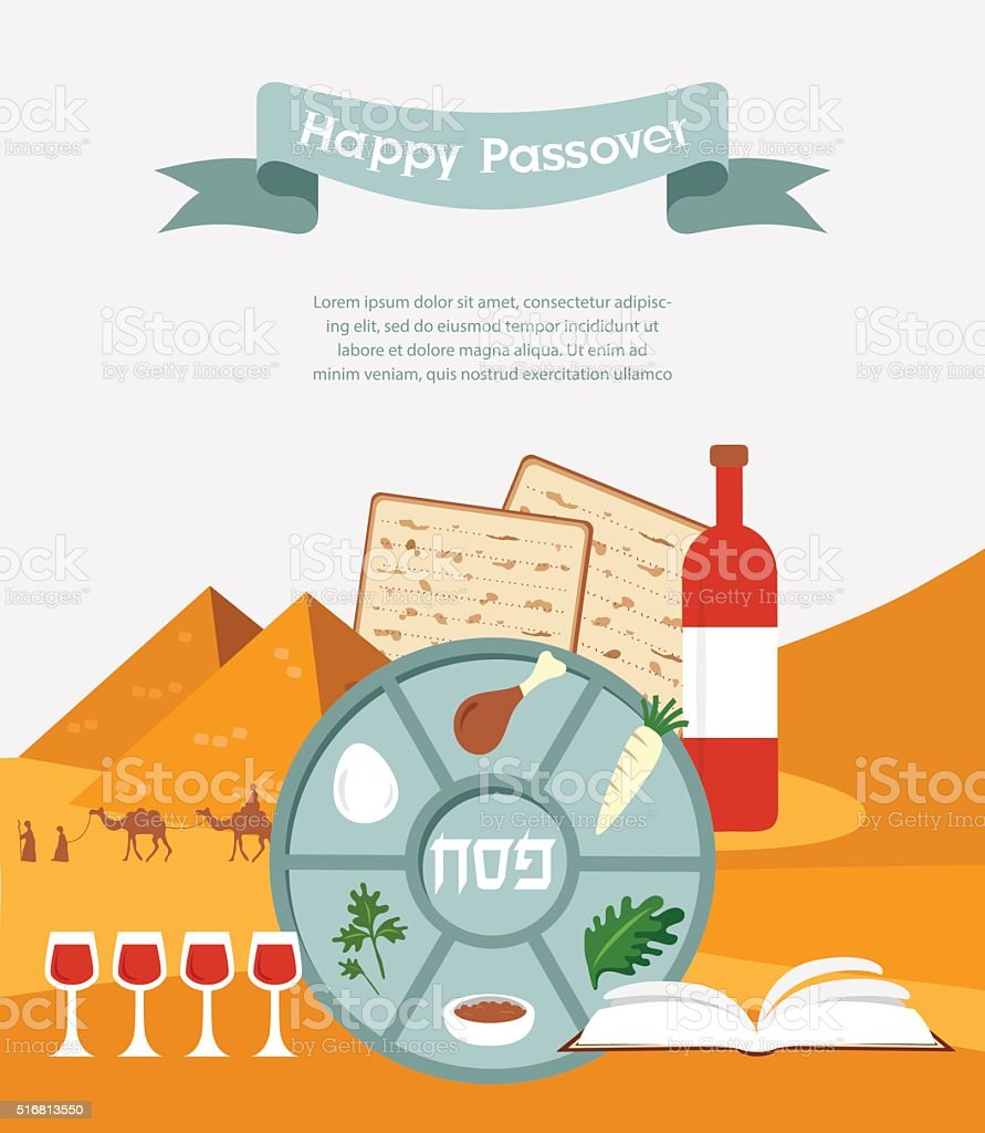 Passover plate with flat trasitional icons over a desert background vector art illustration