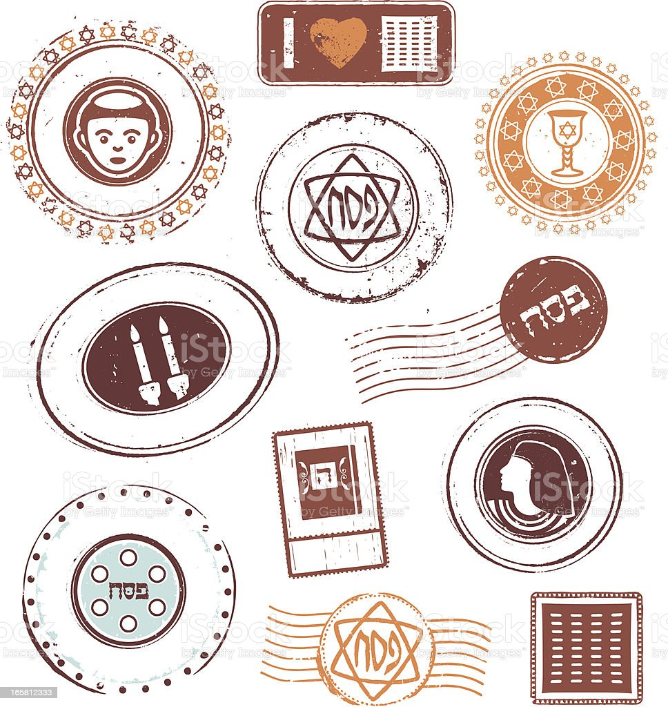 Passover Rubber Stamps vector art illustration