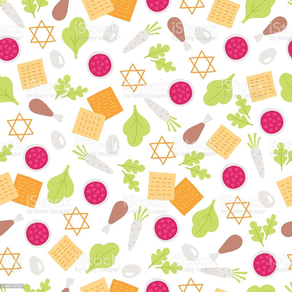 Passover seamless pattern with horseradish, parsley, matzoh vector art illustration