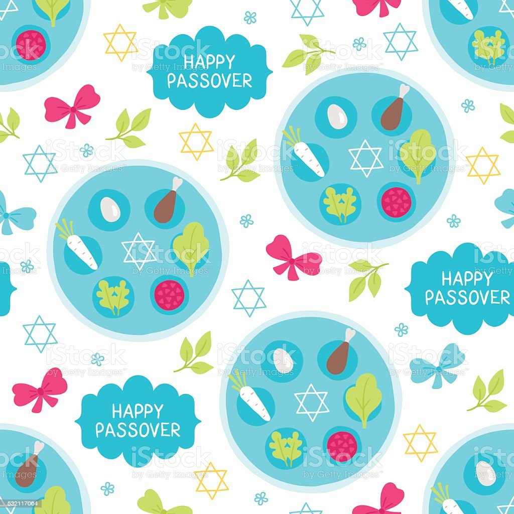 Passover seamless pattern with seder plate, bow, branch, star vector art illustration