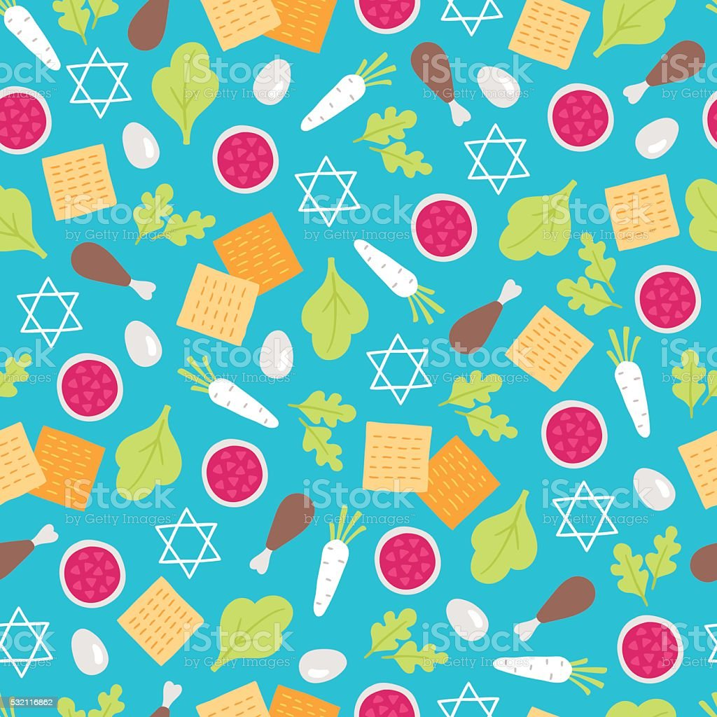 Passover seamless pattern with seder plate food vector art illustration