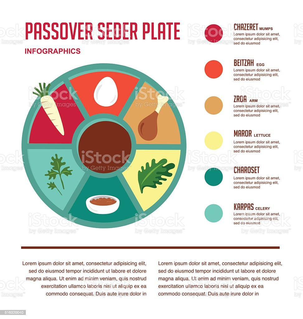 Passover seder flat icons vector art illustration