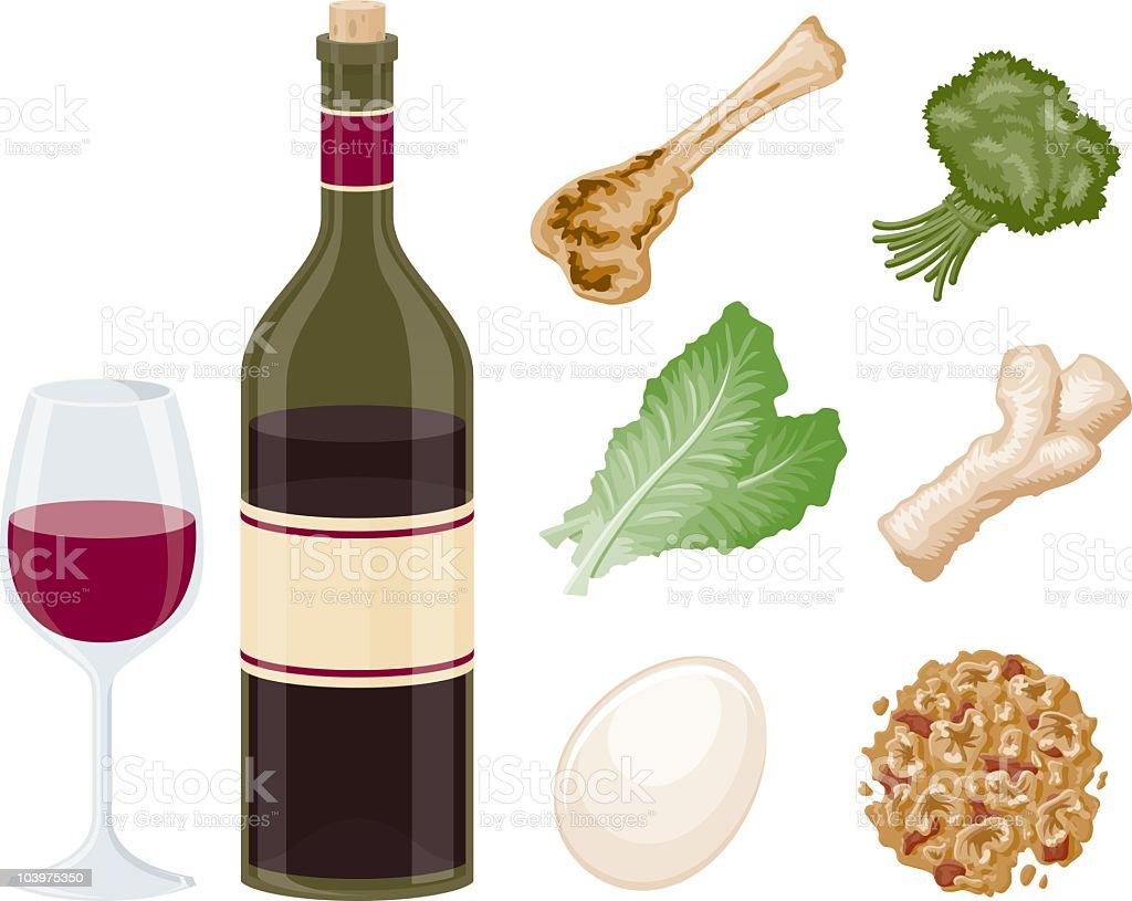 Passover Seder Ingredients vector art illustration