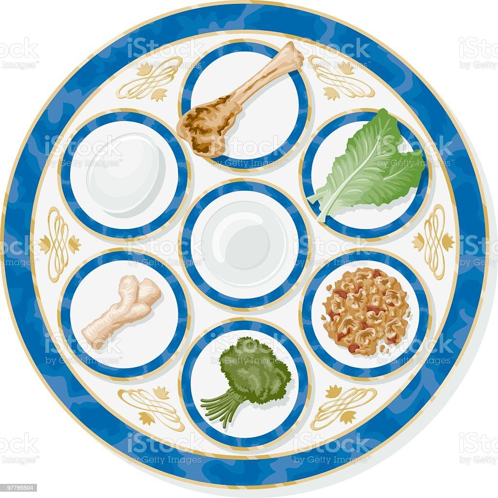 Passover Seder Plate vector art illustration