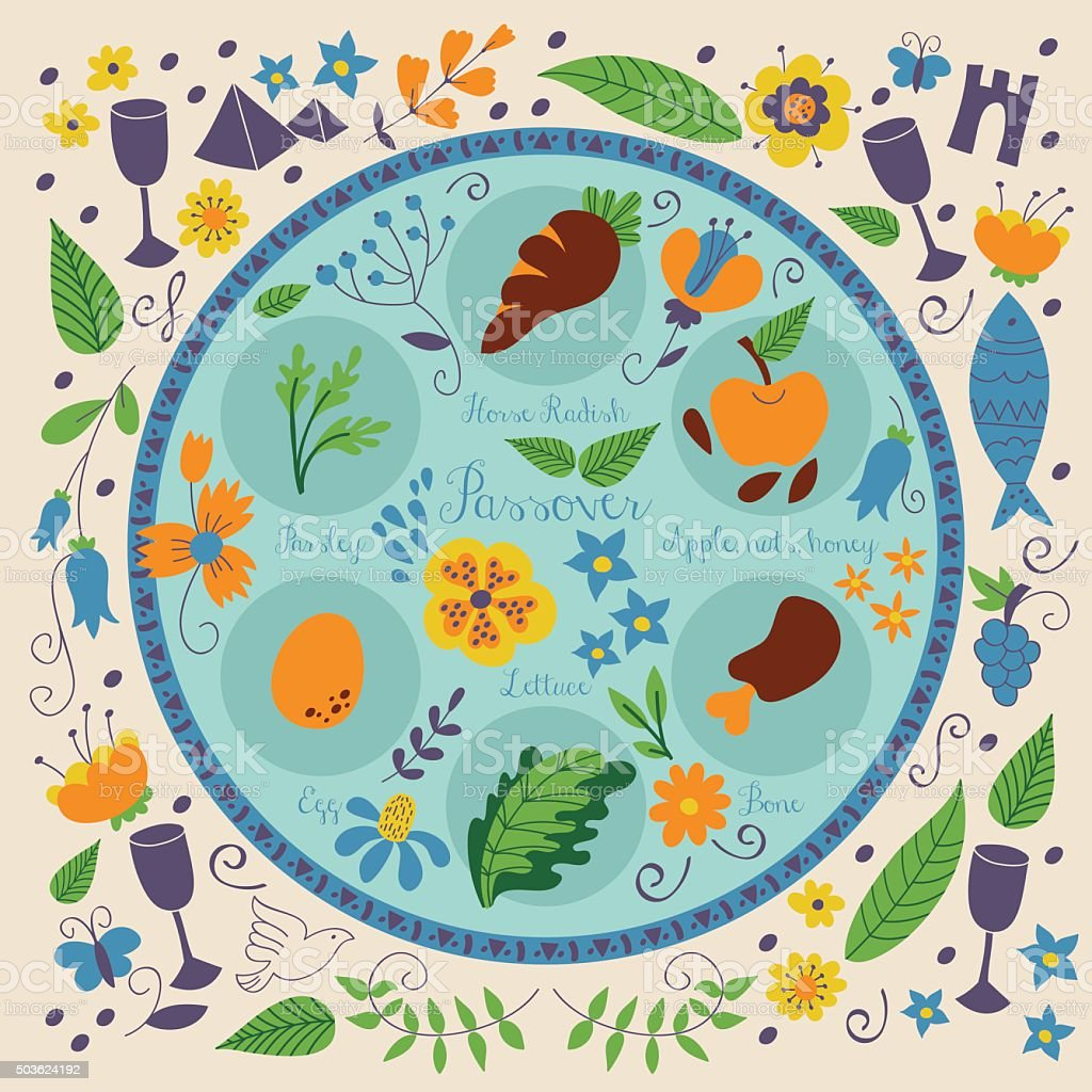 Passover seder plate with floral decoration vector art illustration