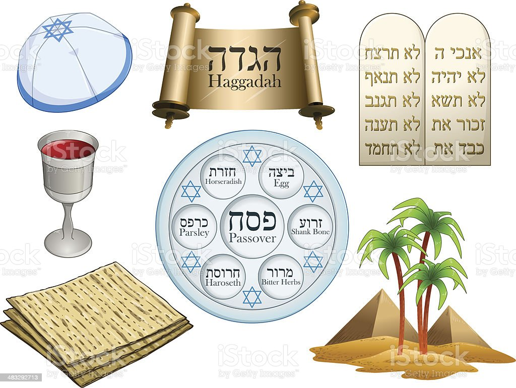 Passover Symbols Pack vector art illustration