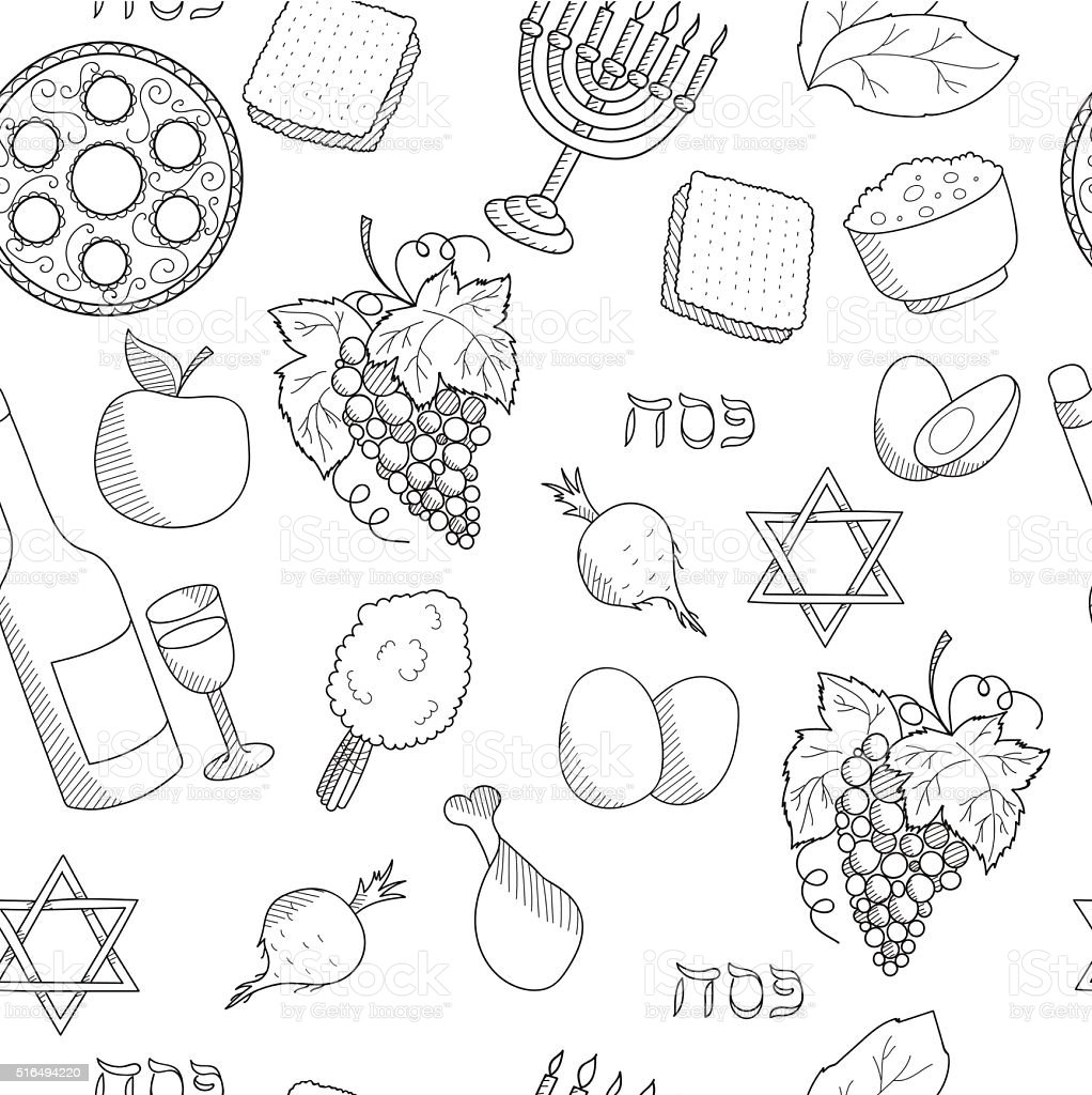 Passover symbols seamless vector pattern vector art illustration