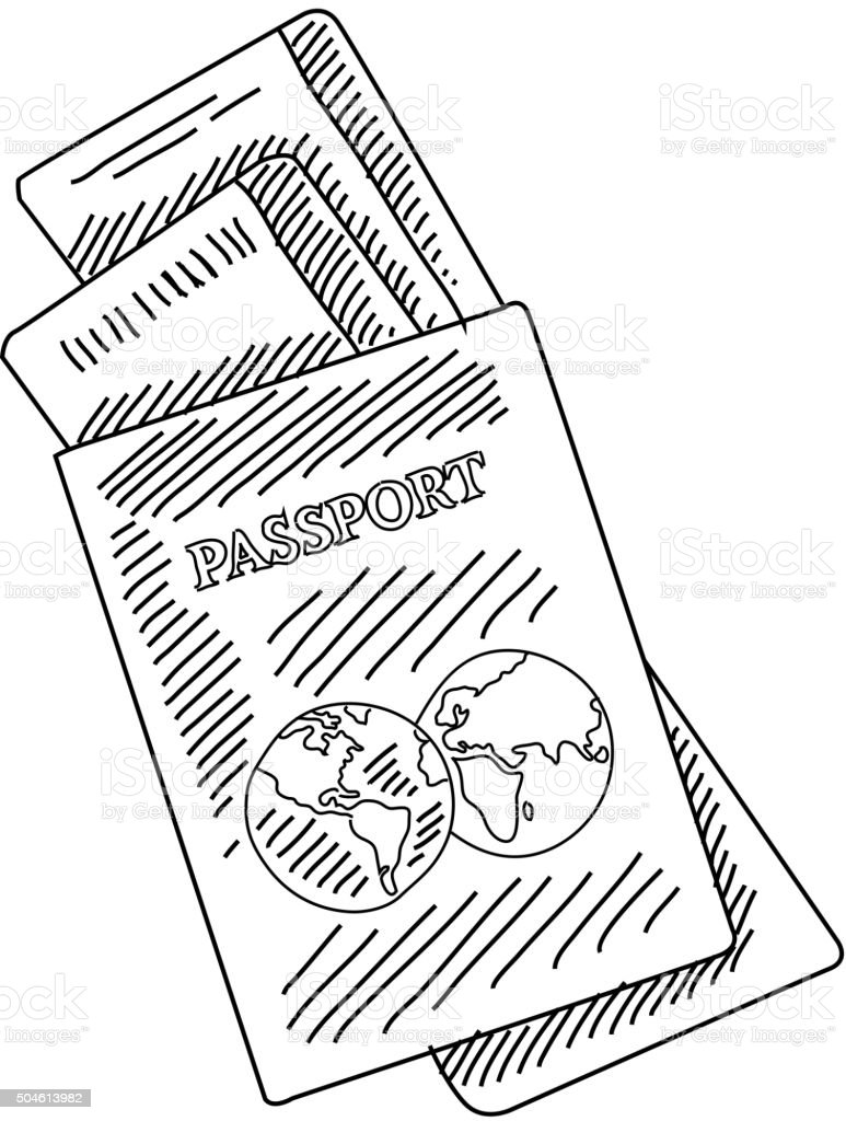 passport and air tickets drawing stock vector art 504613982 istock passport and air tickets drawing royalty stock vector art