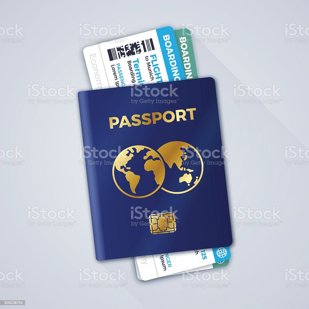 Passport and Airline Boarding Passes vector art illustration