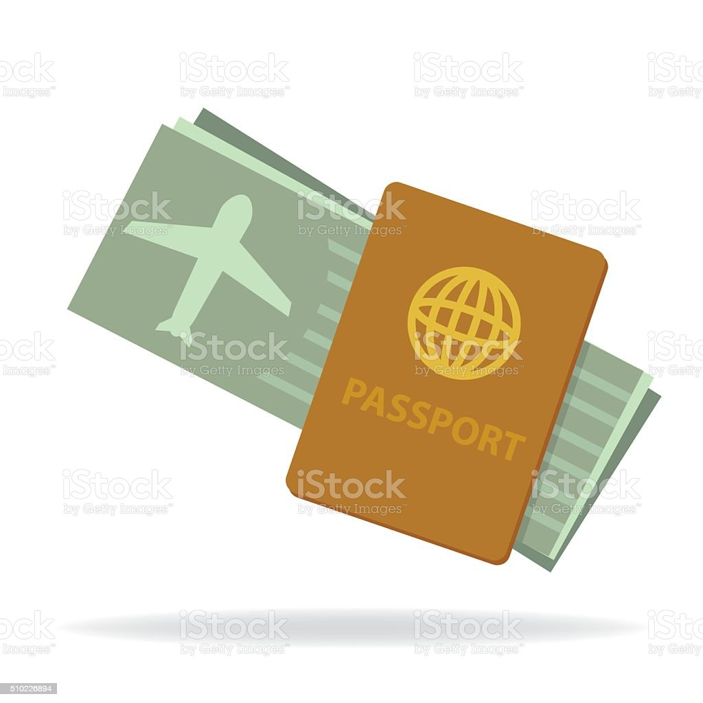 Passport and Flight Ticket vector art illustration