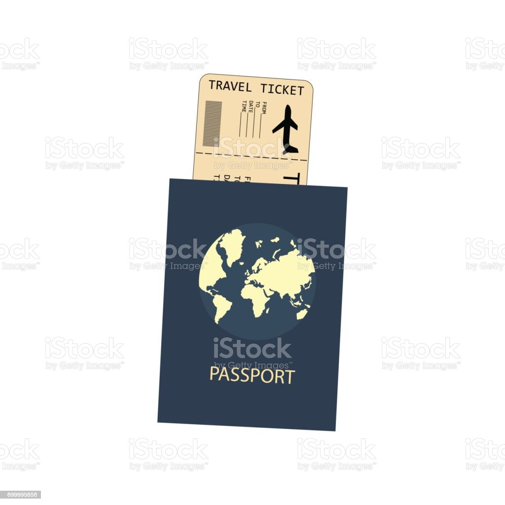 Passport and plane ticket vector art illustration