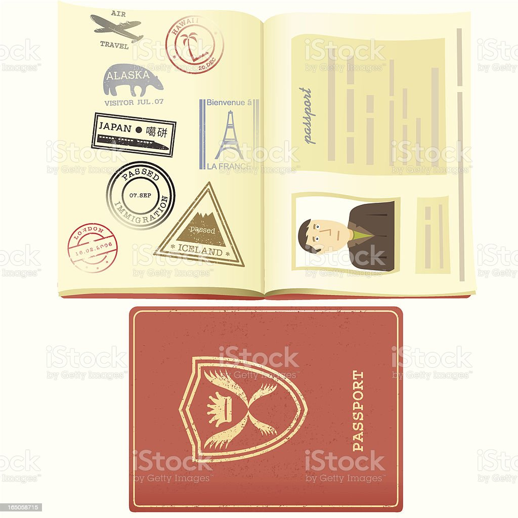 Passport and Travel Stamps vector art illustration