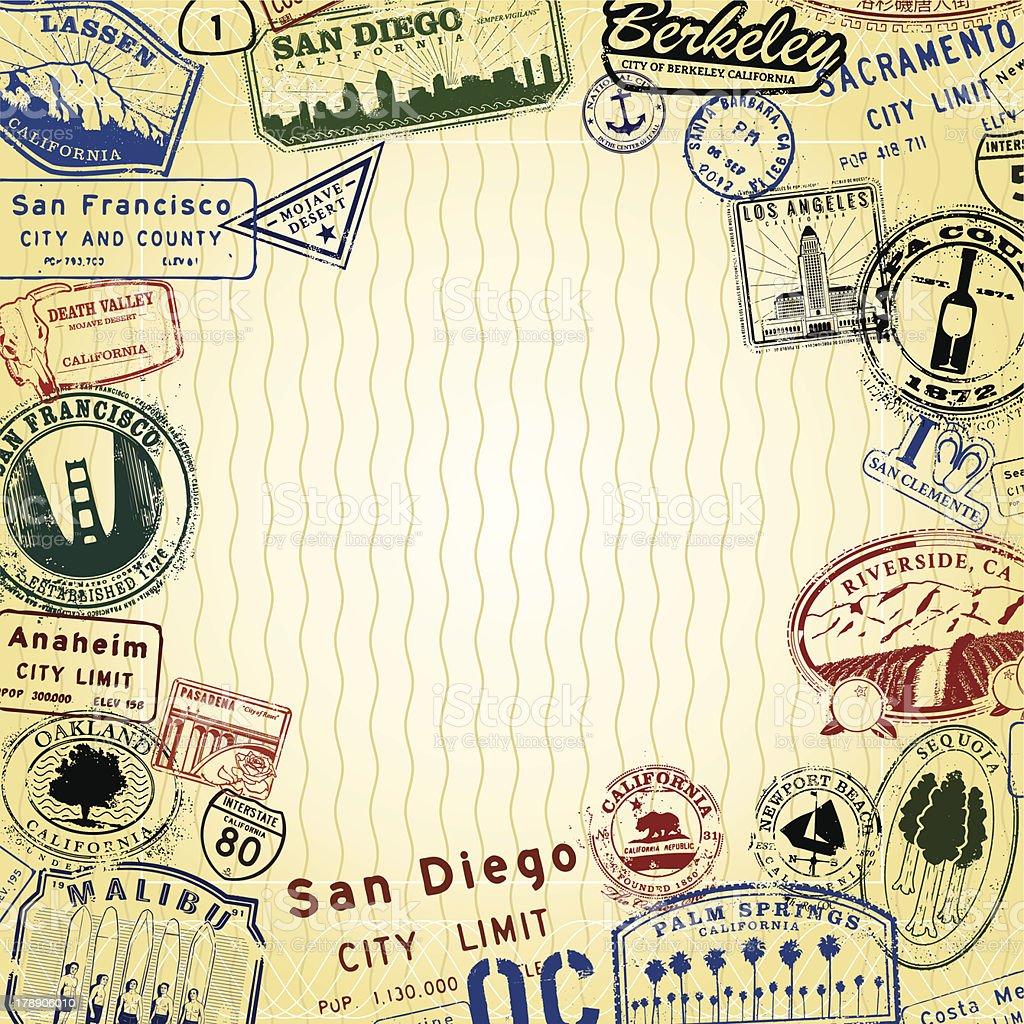 Passport California vector art illustration