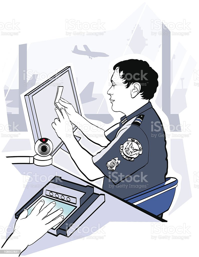 passport check control at the airport vector art illustration
