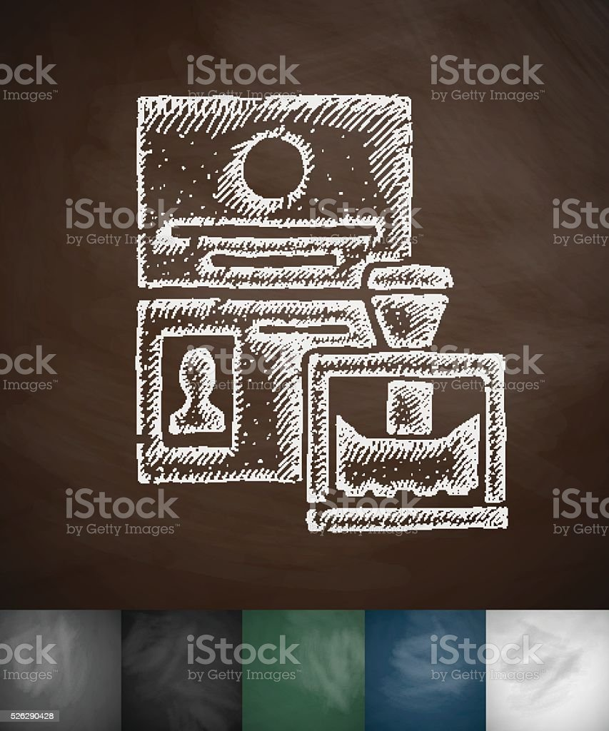passport control icon. Hand drawn vector illustration vector art illustration