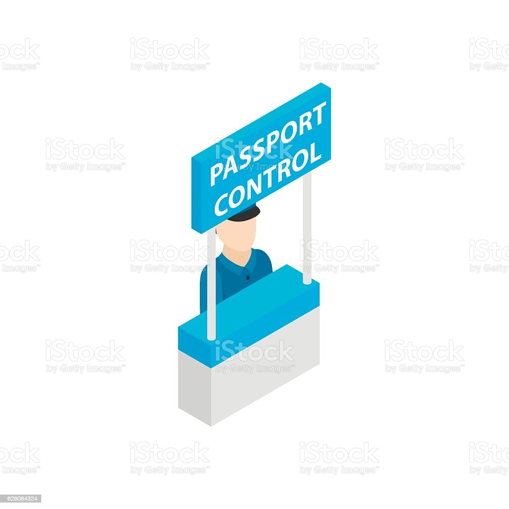 Passport control isometric 3d icon vector art illustration