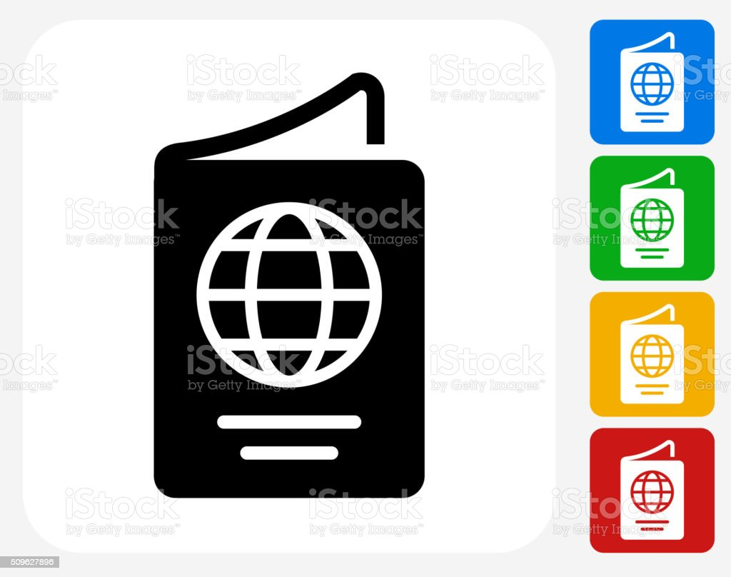 Passport Icon Flat Graphic Design vector art illustration