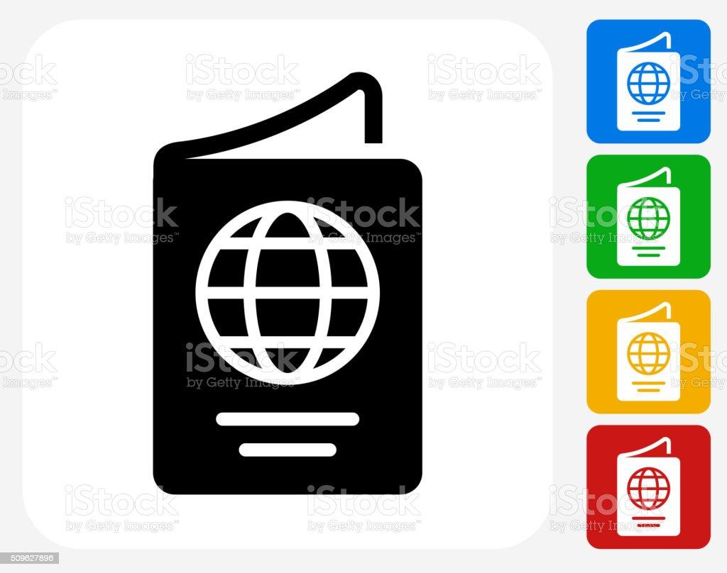 Passport Icon Flat Graphic Design vector art illustration