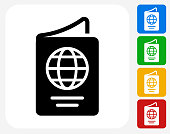 Passport Icon Flat Graphic Design