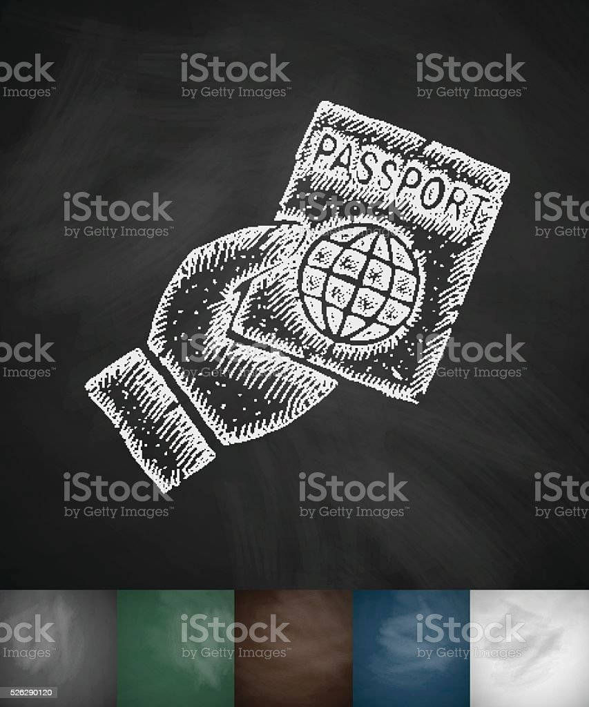 passport icon. Hand drawn vector illustration vector art illustration