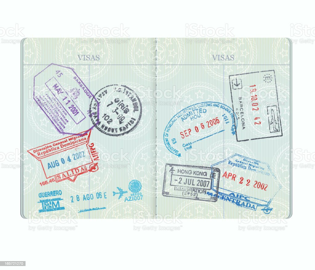Passport Pages with Stamps vector art illustration