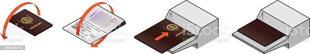 Passport Scanning vector art illustration
