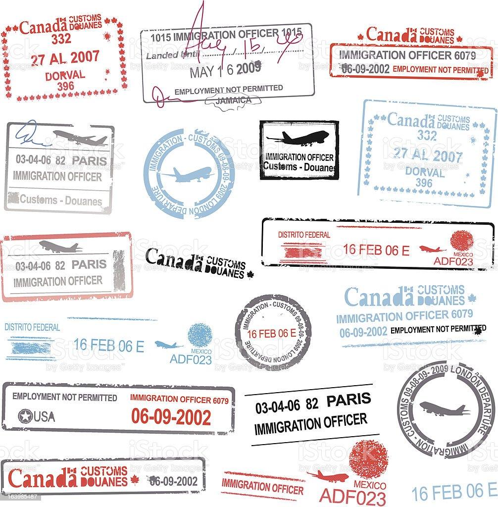 Passport stamp designs vectors vector art illustration
