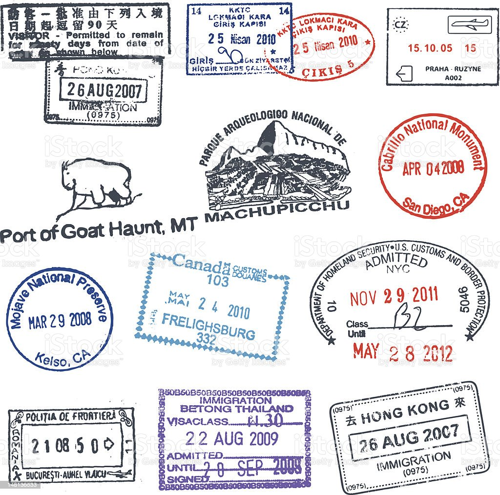 Passport Stamps 2 royalty-free stock vector art