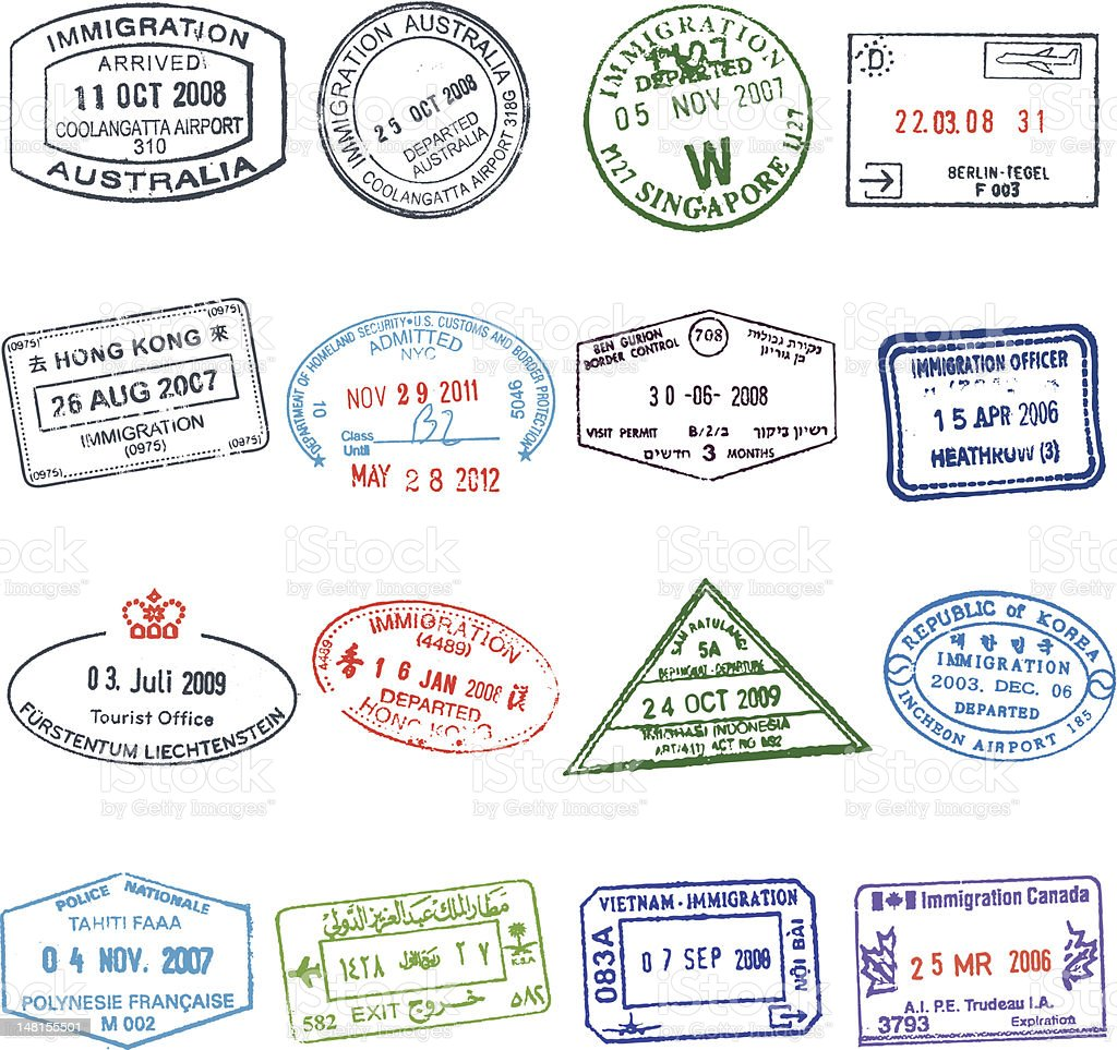 Passport Stamps royalty-free stock vector art