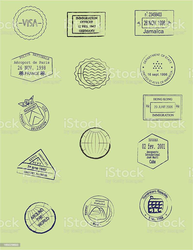 Passport Stamps vector art illustration