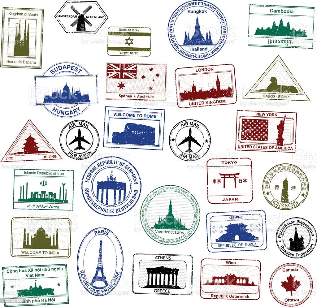 Passport Stamps vector art illustration