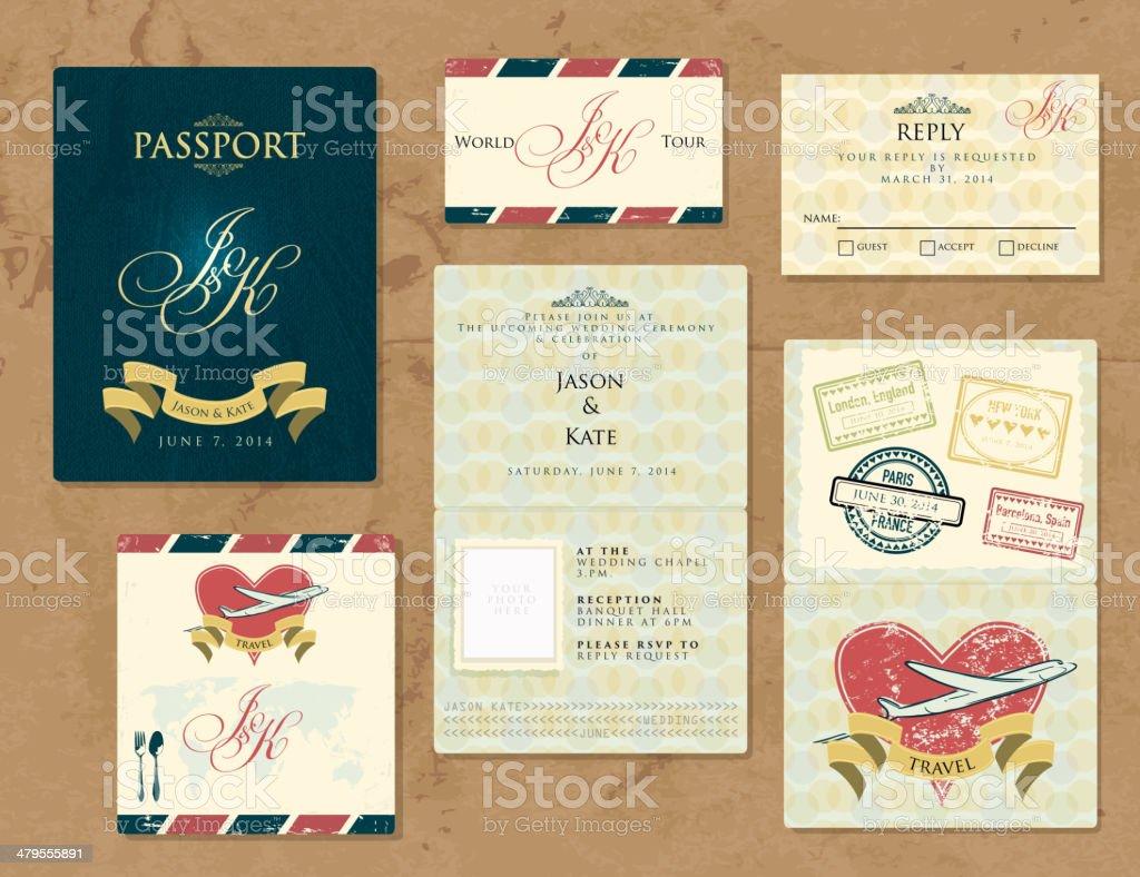 Passport wanderlustWedding Invitation theme set vector art illustration
