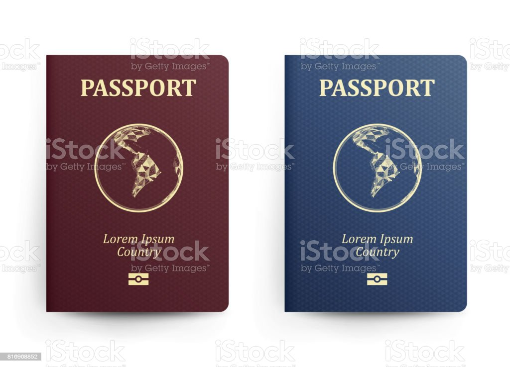 Passport With Map. South America. Realistic Vector Illustration. Red And Blue Passports With Globe. International Identification Document. Front Cover. Isolated vector art illustration