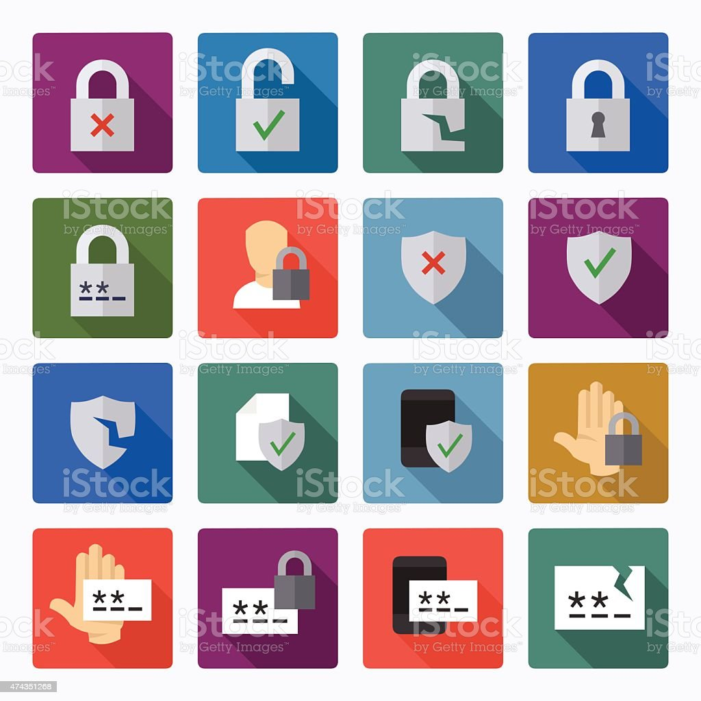 Password and security icons vector art illustration