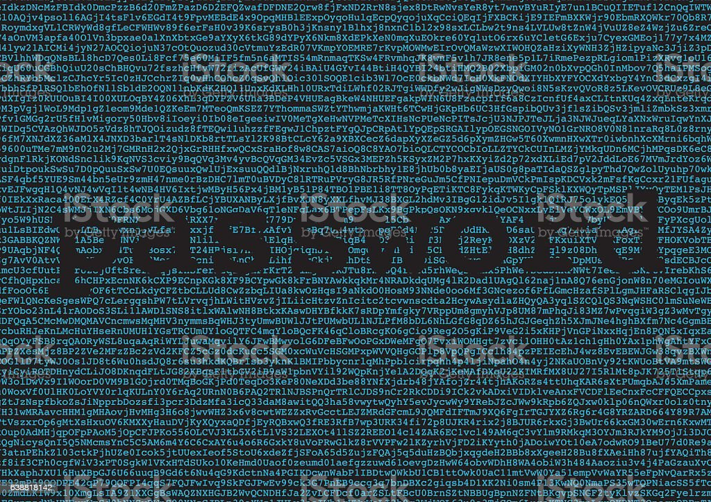 password extraction from a background made of letters and number vector art illustration
