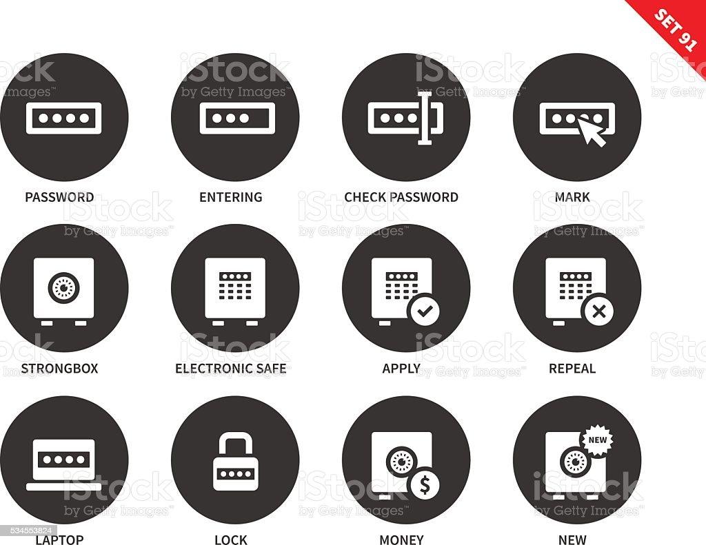 Password icons on white background vector art illustration