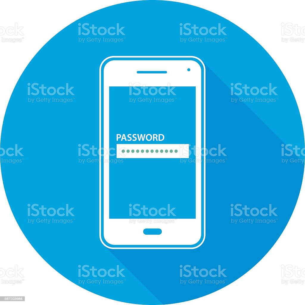 Password Smart Phone Round Icon vector art illustration