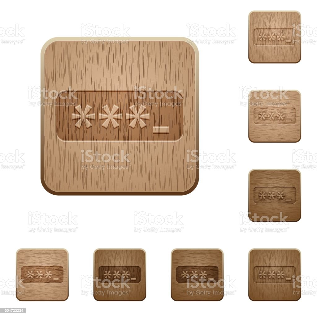 Password typing wooden buttons vector art illustration