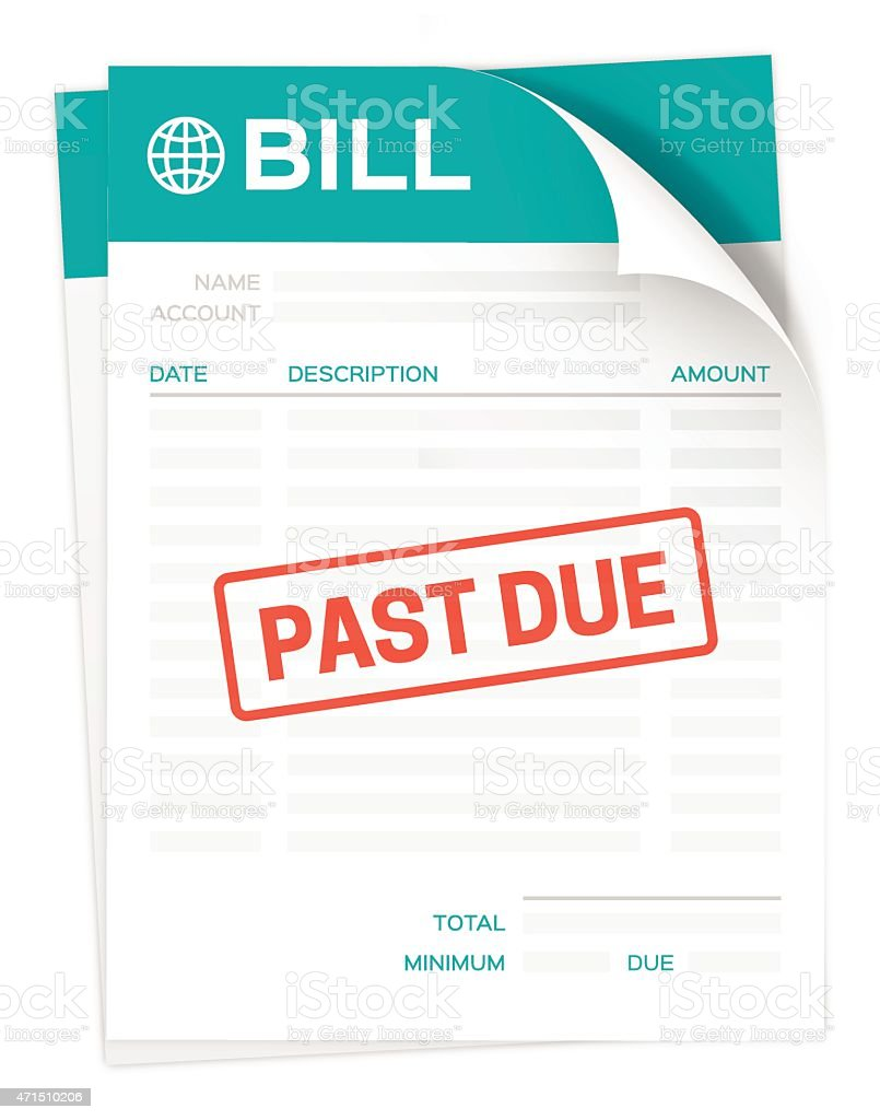 Past Due Bill vector art illustration