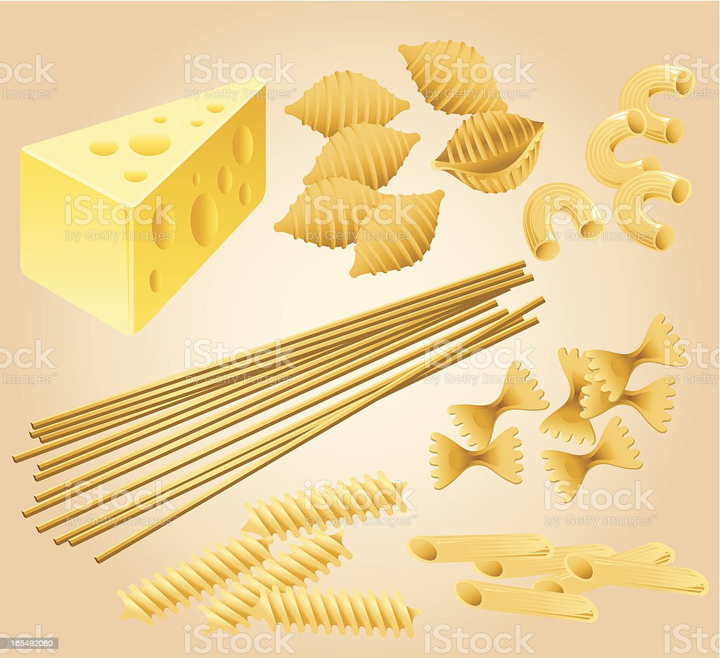 Pasta and Cheese Collection royalty-free stock vector art