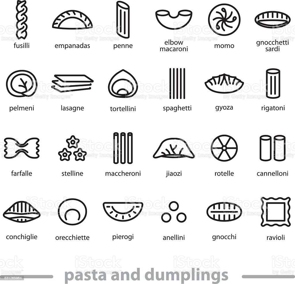 pasta and dumplings icons vector art illustration