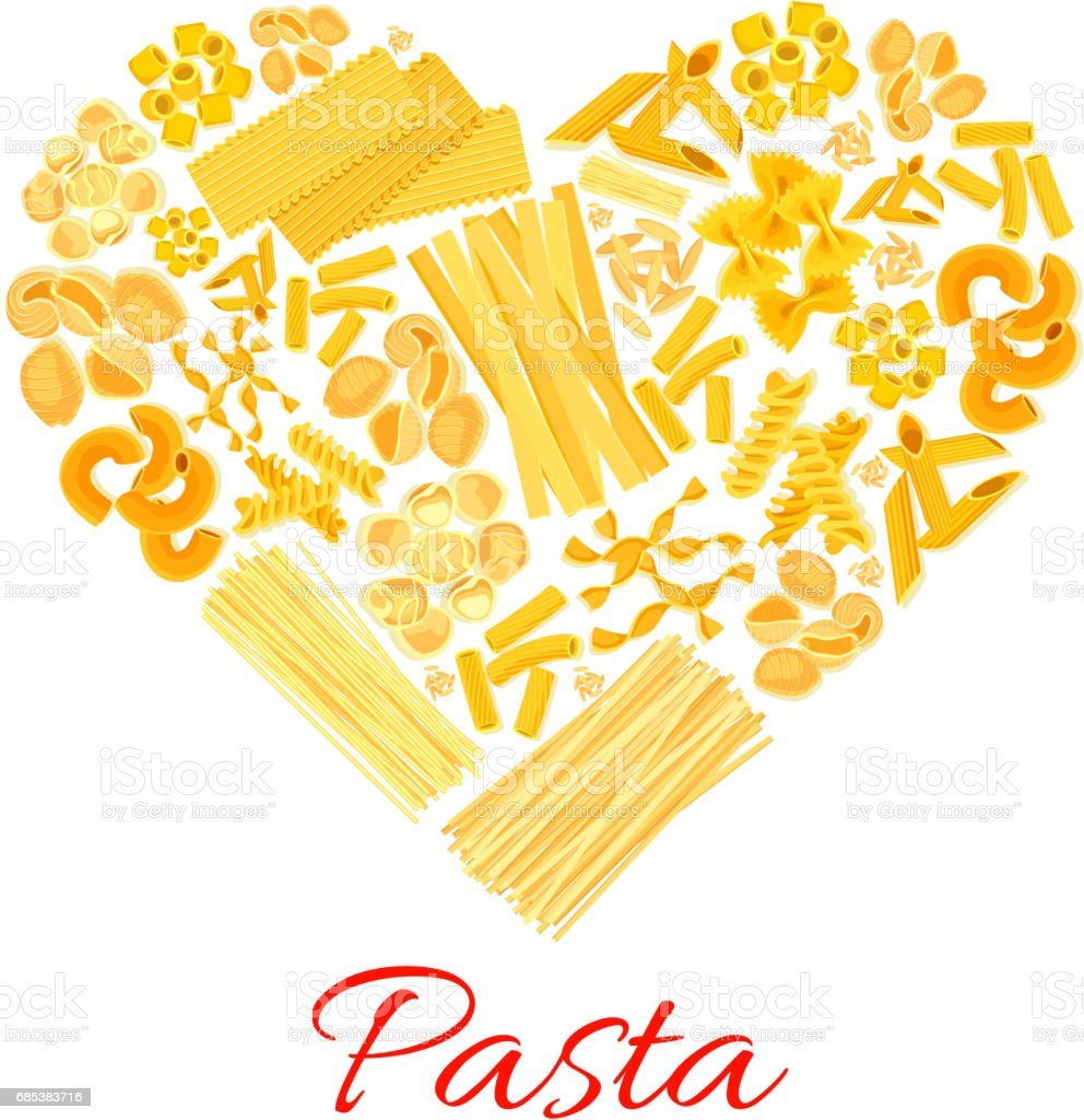 Pasta and Italian macaroni vector heart poster vector art illustration